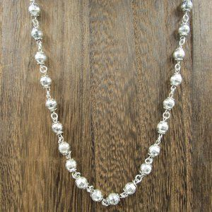 """Vintage 19"""" Sterling Silver Shiny Orbs Necklace"""